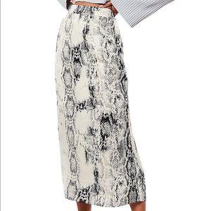 Missguided Snakeskin-Print Satin Midi Skirt